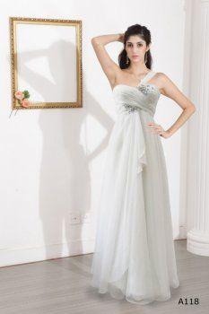Blanco de un hombro princesa vestidos invitadas boda de seda