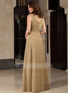 A-Line/Princess V-neck Floor-Length Ruffle Zipper Up Regular Straps Sleeveless No Other Colors Spring Summer Fall General Plus Chiffon Bridesmaid Dress