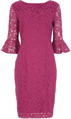 Frill Sleeve Lace Shift Dress in Magenta - Roman Originals UK Beautiful Dresses, Nice Dresses, Formal Dresses, Lace Evening Dresses, Lace Dress, Dress Brokat, Mother Of Bride Outfits, Going Out Dresses, Groom Dress