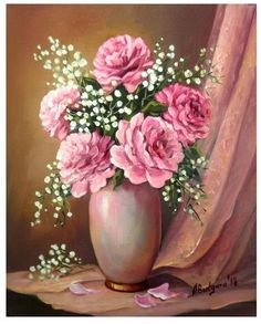 Art Floral, Acrylic Painting Flowers, Acrylic Painting Techniques, Flower Vases, Flower Art, Art Mural Fashion, Art Painting Gallery, Rose Art, Abstract Canvas Art