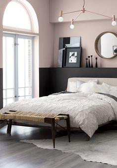 Blush & black bedroom