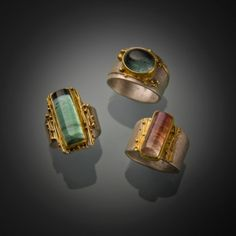 Tourmaline Rings  sterling silver, 22k gold, green, blue, pink tourmalines by Gmomma