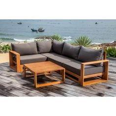 Salon d angle de jardin 5 places table basse en acacia massif FLIP