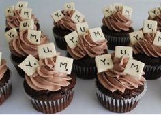 scrabble cupcakes - buy edible markers and use small squares of sugar cookie dough for the squares