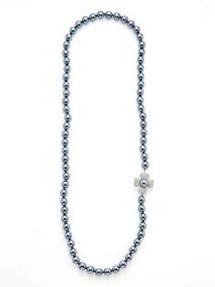 Kenneth Jay Lane Vintage  Vintage Flower Clasp & Grey Pearl Necklace