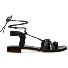 Stuart Weitzman THE LOOPING SANDAL ($398) ❤ liked on Polyvore featuring shoes, sandals, stuart weitzman shoes, laced sandals, braided sandals, boho chic sandals and woven shoes
