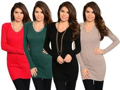 WOMENS V NECK LONG SLEEVE KNIT SWEATER PULL OVER TOP BLOUSE SHIRT TUNIC JUMPER #Stanzino #Tunic