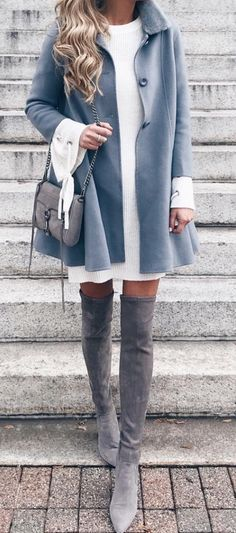 #winter #outfits blue button-up overcoat