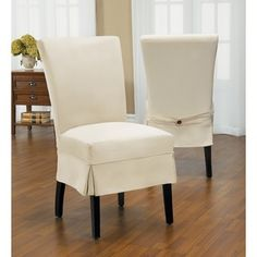 Twill Mid-pleat Relaxed Fit Dining Chair Slipcover with Buttons | Overstock.com Shopping - The Best Deals on Chair Slipcovers