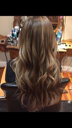 Brown hair with Carmel highlights