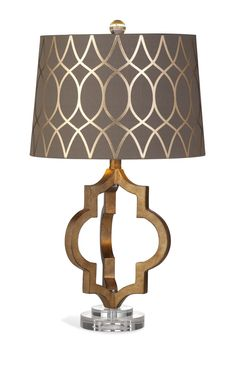Dining Room Tables, Bathroom Vanities, Barstools, Accent Chairs with Ottomans, Platform Beds - New Lamp Arrivals Take additional 13% Off On Lamps $149+    Bassett Mirrors Coburg Table Lamp in Gold Leaf - L2936TEC  Quatrefoil shaped resin body with gold leaf finish and acrylic base.  What's included:  Table Lamp (1)  Features:  Transitional Style  Made of Resin  Finished in Gold Leaf  Shade Size: 13x15x10    #Lighting #CeilingLighting #LightingLam