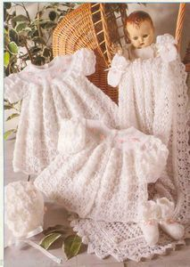 Vintage Knitting Pattern for baby shawl and layette set lacey pattern premature to 6 months