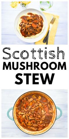 A traditional Scottish stew made with mushrooms serve over creamy mashed potato. Made with just a few everyday ingredients. Mushroom Stew, Mushroom Recipes, Veggie Recipes, Beef Recipes, Cooking Recipes, Savoury Recipes, Veggie Dishes, Vegetarian Stew
