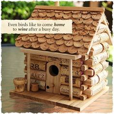 We love this birdhouse, you can make a similar one at home: http://wine.social/1zVkVsi