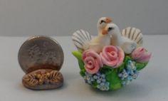 OOAK pair white doves roses forgetmenot teapot miniature Cottage Kitty