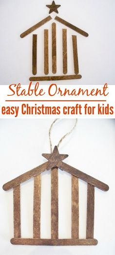 Make an easy stable ornament from craft sticks. This is a fun kids project. Bring the spirit of Christmas into your home with this DIY nativity craft. Kids Christmas Ornaments, Christmas Crafts For Kids, Simple Christmas, Christmas Diy, Christmas Nativity, Christmas Bells, Christmas Printables, Canadian Christmas, Christmas Pageant