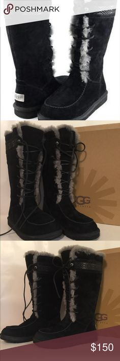UGG Tularosa Lace Up Boot EUC. Featuring a knee high design with a lace up closure to the front. Raised stitched detailing towards the top of the boot. Very little signs of wear. Suede is in excellent condition as is the sheepskin. Worn only a couple of times. Have always been stored in the box. Will cost extra to ship. Color is Black/ Gray. Size is 8. UGG Shoes Winter & Rain Boots