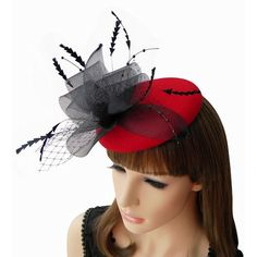 Sexy Red Black Wool Tulle Small Church Dress Beret Hats Berets Women  SKU-158268