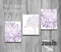 Purple Lavender Gray Girls Nursery Wall Art Set Personalized Flowers Tree Falling Leaves Bird Name Baby Shower Gift Decor CUSTOM QUOTE on Etsy, $34.36 CAD