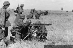 Waffen SS machine gun elements prepare to fire. Heavily used by German forces, the machine gun played a central role in infantry tactics. Unlike the case of Allied armies, the German book made the machine gun the primary assault weapon of infantry advance down to platoon level.