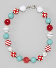 Look what I found on #zulily! Turquoise & Red Dot Bead Necklace #zulilyfinds
