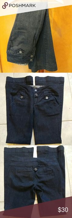 Boom Boom Jeans These dark denim Boom Boom wide leg jeans have a classic look. They are 59% cotton 35% polyester 5% rayon and 1% spandex. The are a size 1. The length is 32 inches the inseam is about 7.5 inches and the seat is about 12 inches. Boom Boom Jeans Flare & Wide Leg