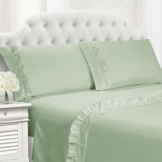 Add chic style to your bed with the lavish Hudson Ruffled Sheet Set. Embellished with an elegant ruffled hem in an array of fashionable colors, the sumptuously soft sheets are the perfect complement to your bedding ensemble.