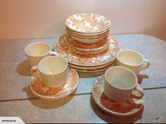 Crown Lynn orange floral dinner set for sale on Trade Me, New Zealand's auction and classifieds website Dinner Sets, Crown, Dishes, Orange, Tableware, Floral, Corona, Dinnerware, Tablewares