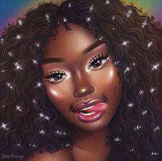 Image may contain: 1 person Black Love Art, Black Girl Art, Art Girl, Black Art Painting, Black Artwork, African American Art, African Art, Drawings Of Black Girls, Arte Black