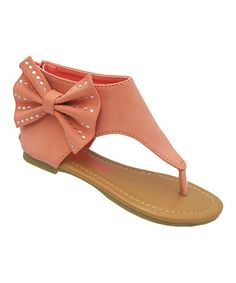 Love this Peach Bow Karylle Sandal by Yokids on #zulily! #zulilyfinds