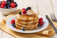 Yogurt and granola pancakes using Sweet Home Farm granola!