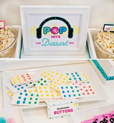 A Colorful & Modern Pop Star Party Dessert Table // Hostess with the Mostess®