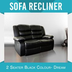Recliner New Modern Bonded Leather Black Smart Ultra Cushioned Stylish Dream Modern Recliner, Bonded Leather, Reclining Sofa, Couch, Stylish, Furniture, Black, Home Decor, Modern