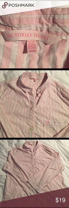 VS Victoria's secret pajama top size M Barely worn.  Cute pink and white striped with silver accent lines VS pj top.  These pajamas get softer as they are worn and washed, i am also selling the pants which have been pre-loved and are softer. Victoria's Secret Intimates & Sleepwear Pajamas