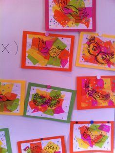 Mooi effect: maskers tekenen met zwart op een achtergrond van gekleurde, gescheurde snippers. Kindergarten Art Projects, School Art Projects, Hobbies And Crafts, Arts And Crafts, Theme Carnaval, Hobby Shops Near Me, Winter Art Projects, Ecole Art, Art N Craft