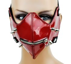 Red PVC Patent Zipper Mask Bondage Fetish Cosplay