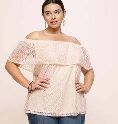dd06dc75f2f11 Add lace into your spring wardrobe with this plus size Lace Off-the-Shoulder
