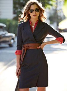 Baukjen tailored dress - love the different colour under the dress and the obi belt