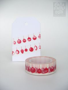 WASHI TAPE  red hanging christmas balls by StarsStripesAndDots, €2.49