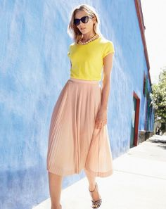 bright yellow top and nude micropleats for summer