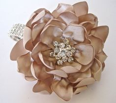 Champagne Satin Rhinestone Wrist Corsage by theraggedyrose on Etsy
