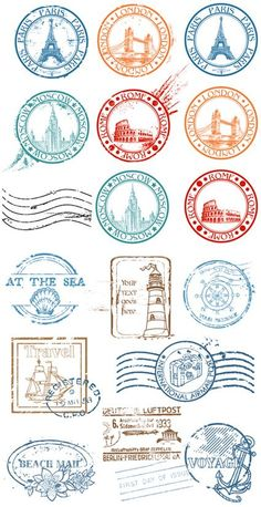 World Capitals and Travel Rubber Stamps 2 eps files | jpeg preview | 17 Mb