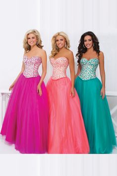 2014 Dresses Sweetheart Floor Length Princess Beaded Bodice With Bright Rhinestones