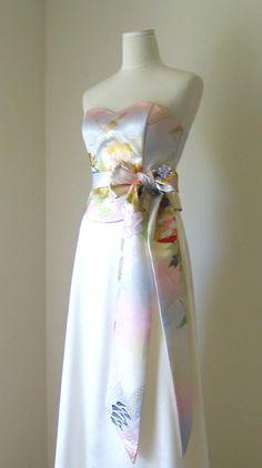 Wedding Dress With Vintage Kimono Top Obi Bow Sash Belt Gold Brocade Crane Spring Flower Pastel