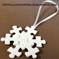random puzzle pieces, paint and ribbon - glue up into snowflake ornaments.