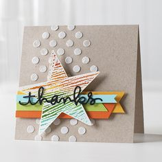 Love this thank you card Shari created with our Big Star stamp #HeroArts