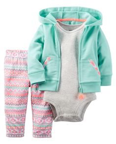 Carters Baby Girls Cardigan Sets 121g751 Turquoise/Tribal 9 Months * Learn more by visiting the image link.(It is Amazon affiliate link) #BabyGirlClothingCollection