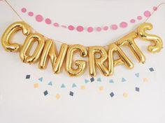CONGRATS balloons - tassel garlands or  geometric - gold foil mylar letter balloon banner
