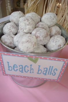 donut hole beach balls! would be so cute if iced and decorated like beach balls too! beach wedding idea