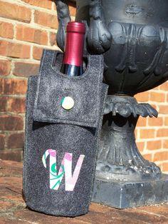 Wine Bottle Gift Bag in Felt Customizable. $10.00, via Etsy.